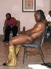 Naked black mom having fun and calling to stripper