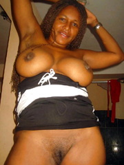 Aged ebony nudists, she's not shy because her melons still..